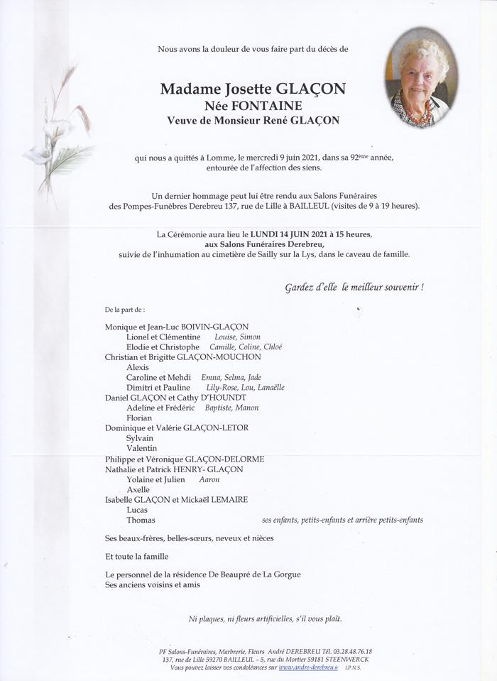 GLACON Josette née FONTAINE