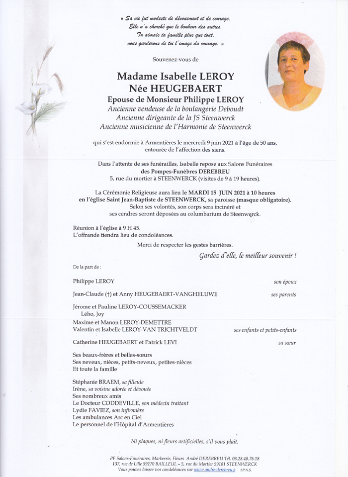 LEROY Isabelle Née HEUGEBAERT