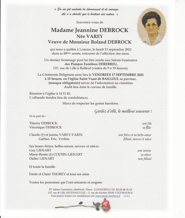 DEBROCK Jeannine née VAREY