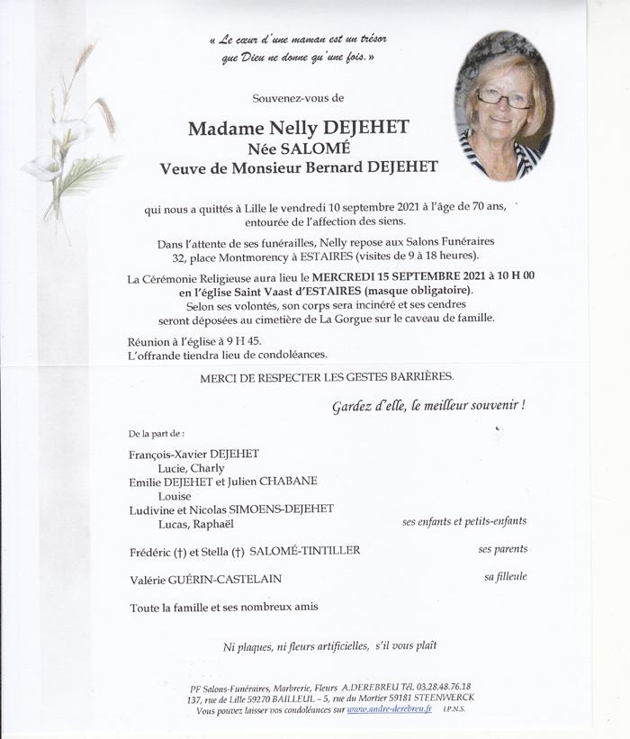 DEJEHET Nelly née SALOME
