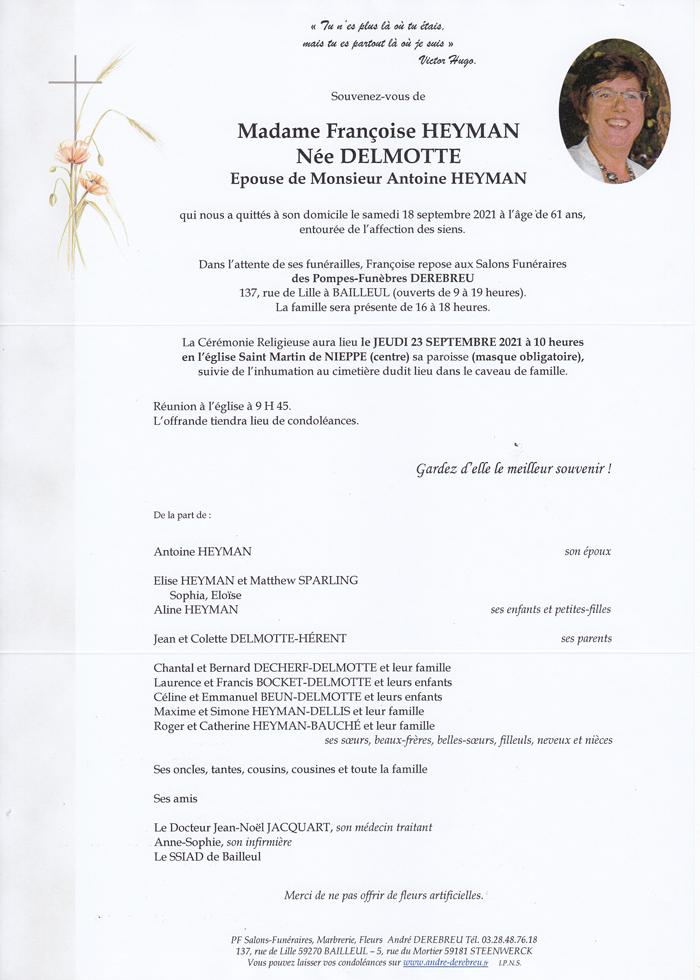 HEYMAN Françoise Née DELMOTTE