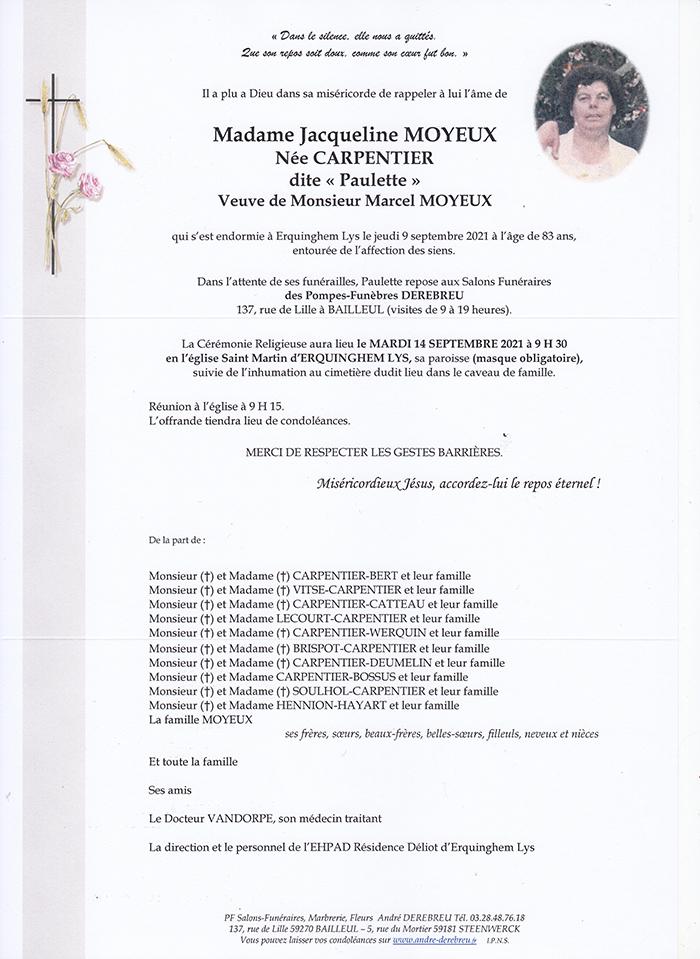 MOYEUX Jacqueline Née CARPENTIER