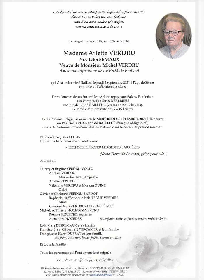 VERDRU Arlette née DESREMAUX