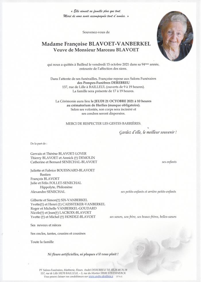 BLAVOET Françoise Née VANBERKEL